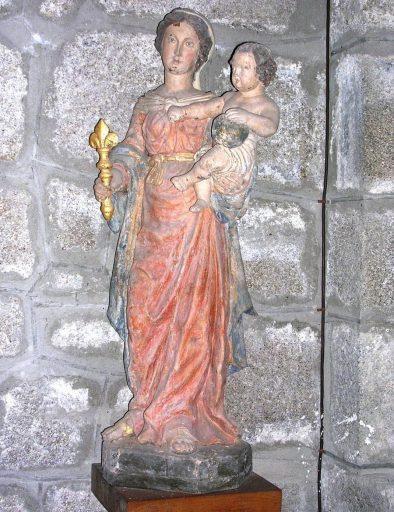 Statue (petite nature) : Vierge à l'Enfant tenant un sceptre fleurdelisé