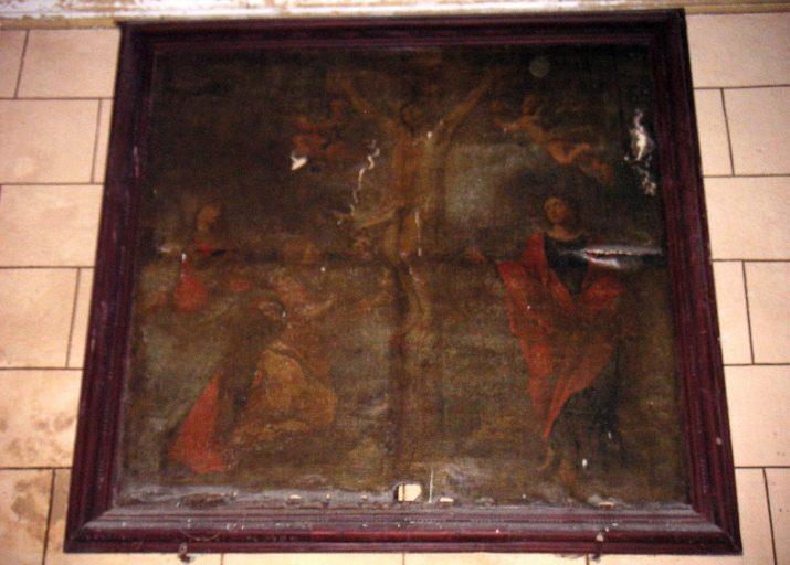 Tableau et cadre : Calvaire avec sainte Madeleine et deux anges recueillant le sang du Christ