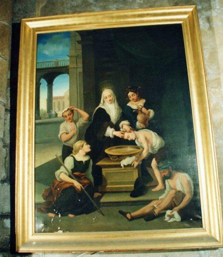 Tableau et cadre : sainte Elisabeth de Hongrie soignant les teigneux