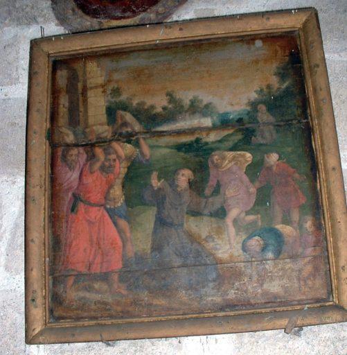 2 tableaux et leurs cadres : le Martyre de saint Quentin et la Lapidation d'André de Spolète