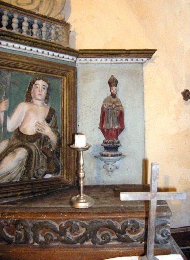 5 statuettes de tabernacle : saint évêque, angelots, colombe, ange à la trompette