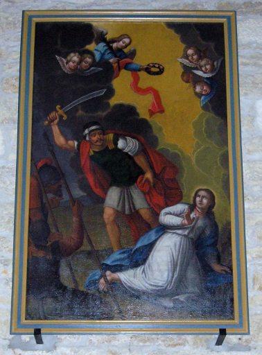 Tableau, cadre : le Martyre d'une sainte (sainte Cécile ?)