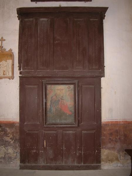 Placard-clôture des fonts baptismaux avec tableau : Baptême du Christ