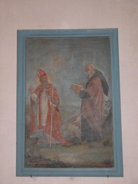 Tableau et son cadre : saint évêque, saint Antoine abbé
