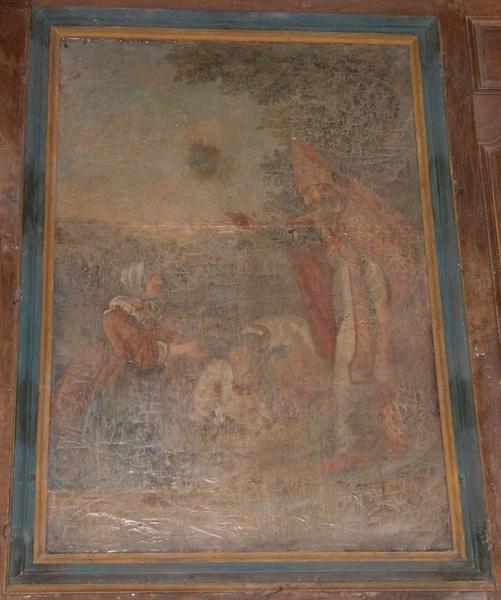 tableau et cadre : saint Blaise bénissant une bergère