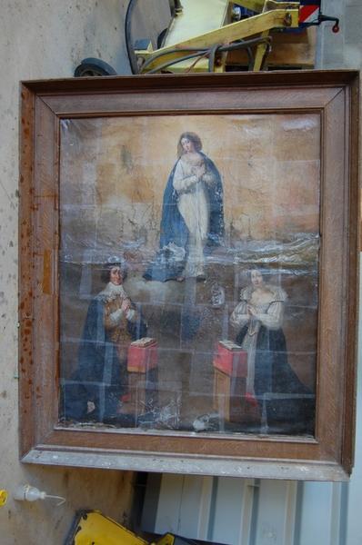 Tableau, cadre : la Vierge et deux donateurs