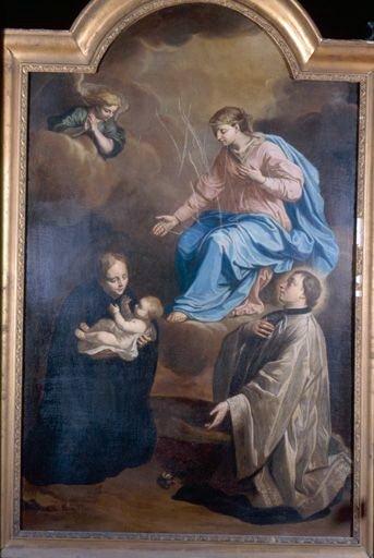 Tableau, cadre : l'Apparition de la Vierge à saint Stanislas Kostka et à saint Louis de Gonzague (?)