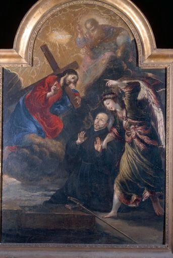 Tableau, cadre : l'Apparition du Christ à saint Ignace de Loyola