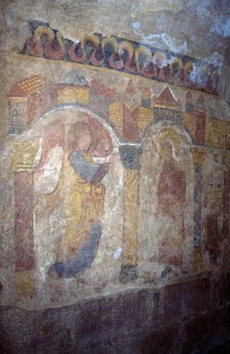 Peinture monumentale : l'Annonciation (ensemble des peintures monumentales de la crypte)