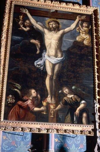 Tableau, cadre : Quatre anges recueillant le sang du Christ en croix