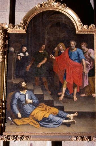 Tableau, cadre : la Mort de saint Alexis