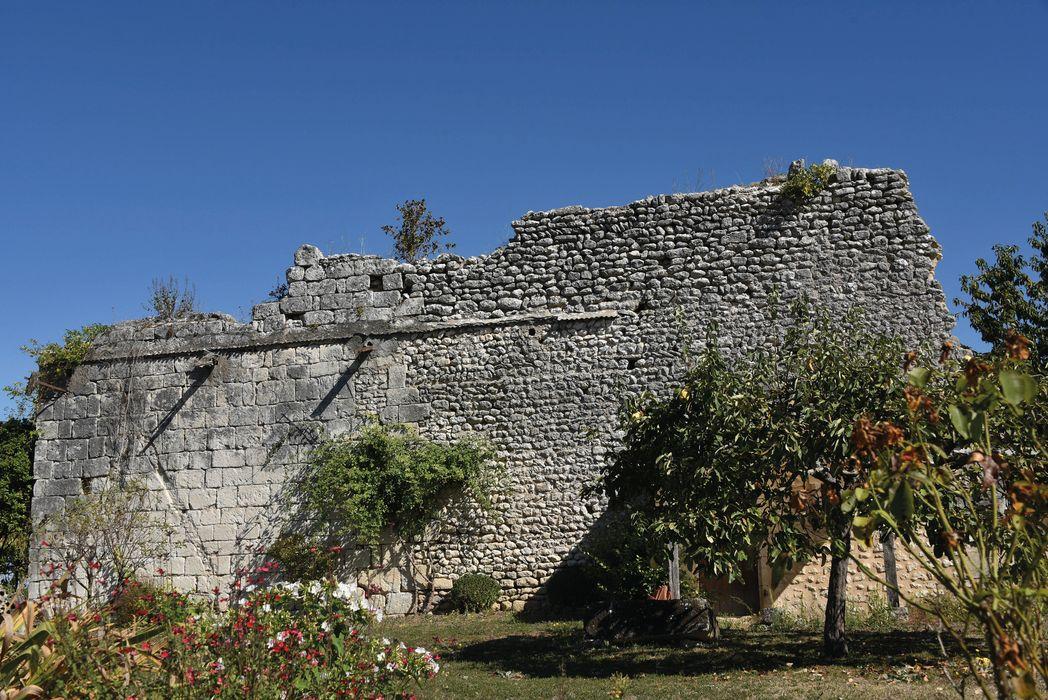 Ancienne église Notre-Dame de l'Houme: Ruines de la façade latérale nord, vue générale
