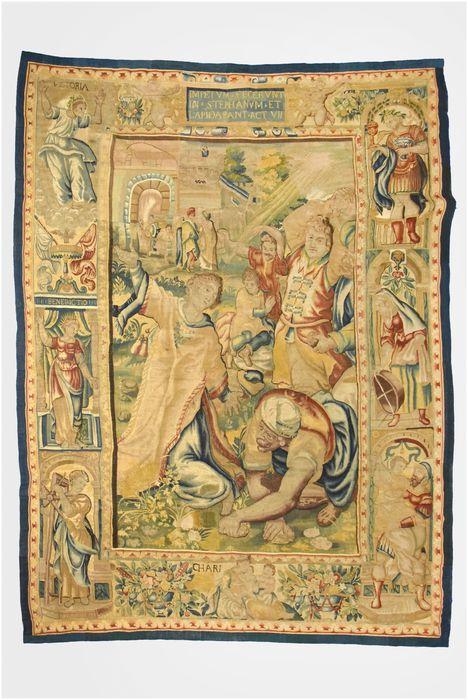 pièce murale : Lapidation de saint Etienne (tenture composée de la Remise des clefs à saint Pierre, la Lapidation de saint Etienne, un Miracle de saint Paul), vue générale