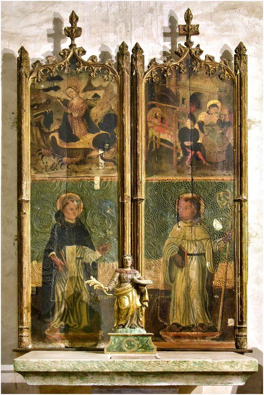 2 tableaux : saint Bernard, saint Dominique