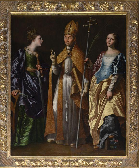 tableau : Evêque entre une sainte martyre et sainte Catherine, vue générale