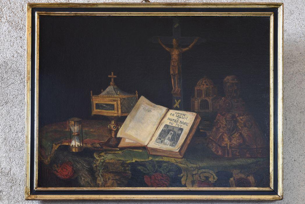 tableau : Nature morte au livre Histoire de l'église de Notre-Dame du Puy, vue générale