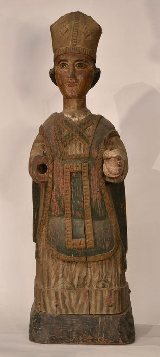 statue-reliquaire : Saint évêque, vue générale