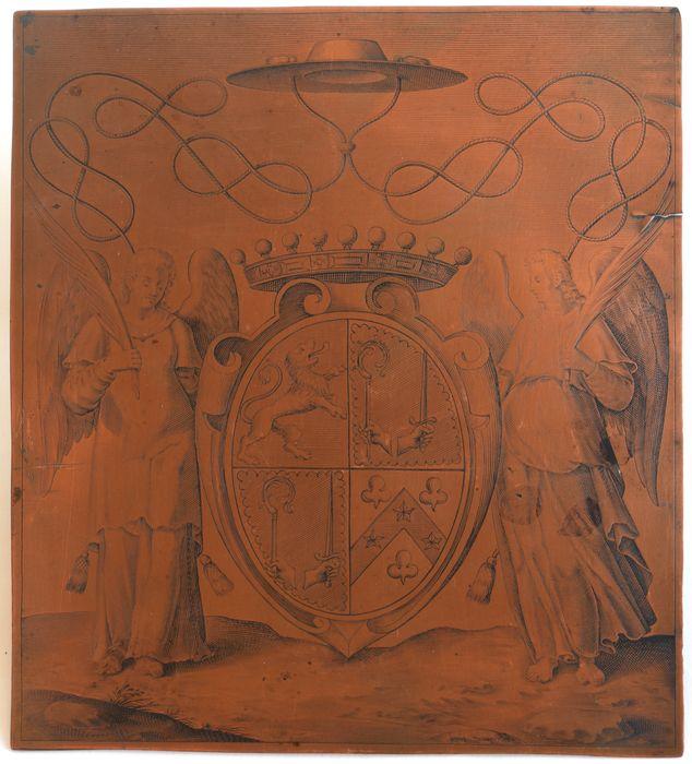 planche d'impression d'ex-libris de l'évêque Just de Serres (3), vue générale