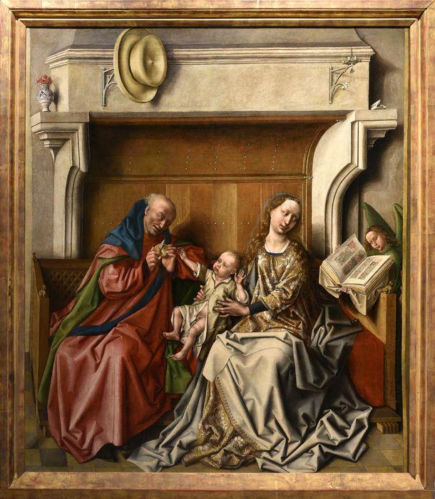 tableau : la Sainte Famille devant une cheminée, vue générale