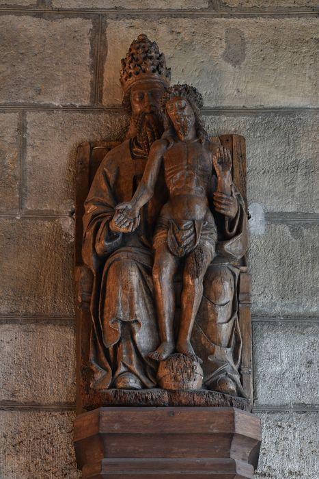 Groupe sculpté : Dieu le père présentant le Christ en croix