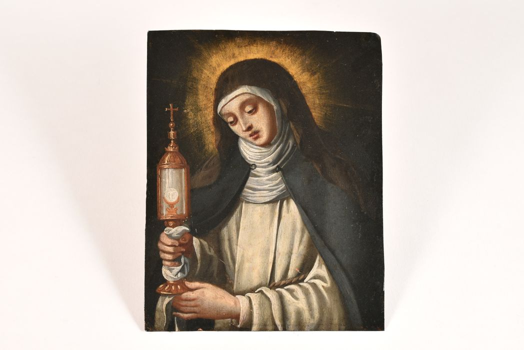 2 tableaux : sainte Barbe, sainte Claire