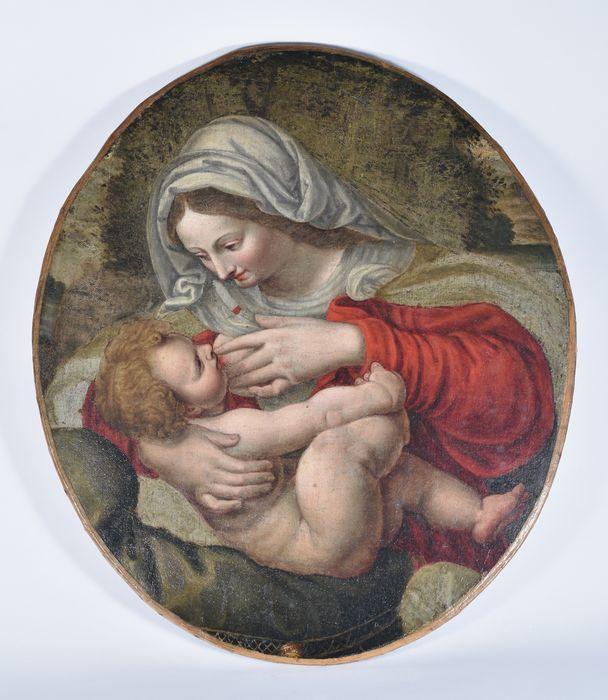 Tableau dit Vierge au coussin vert : Vierge allaitant
