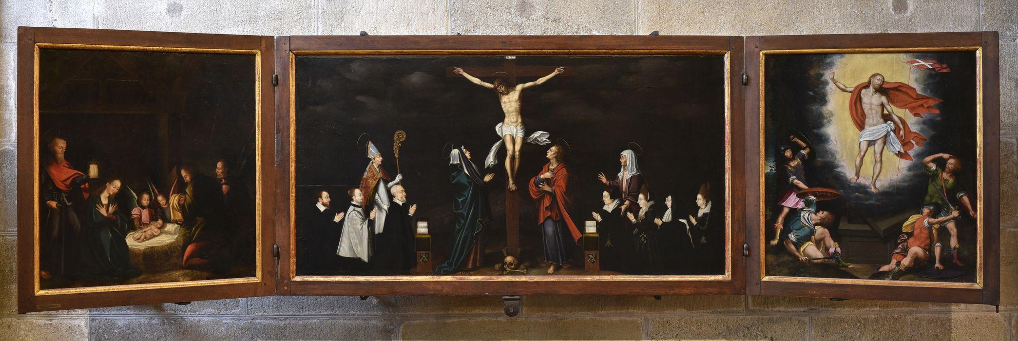 Tableau (triptyque) : Christ en croix accompagné de donateurs (le)