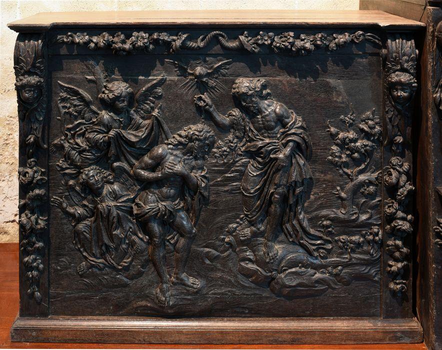 Retable (retable à panneau compartimenté) : l'Adoration des Mages, l'Adoration des bergers, le Baptême du Christ