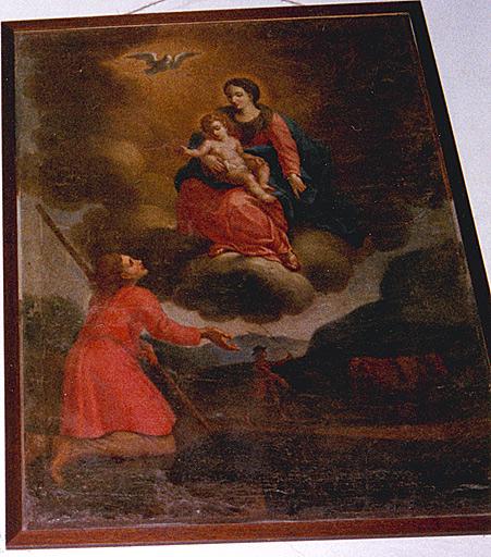 Ex-voto : la Vierge et l'enfant apparaissant à un laboureur