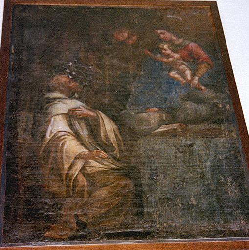 Ex-voto : la Vierge et l'enfant apparaissant à un moine