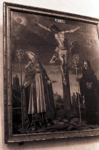 tableau : Le Christ en croix entre saint Polycarpe et saint Benoît