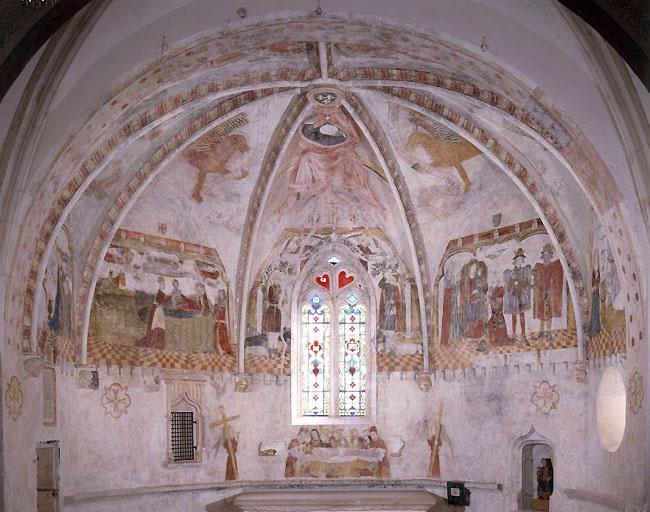 Peinture monumentale : Annonciation, Adoration des Mages, saint Georges terrassant le dragon une Nativité une Mise au tombeau