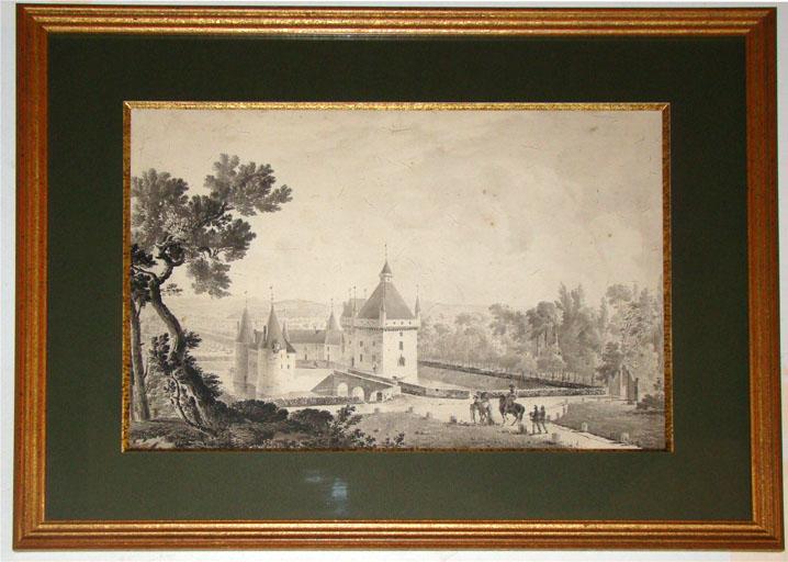 Dessin   Château de Loriol en 1740