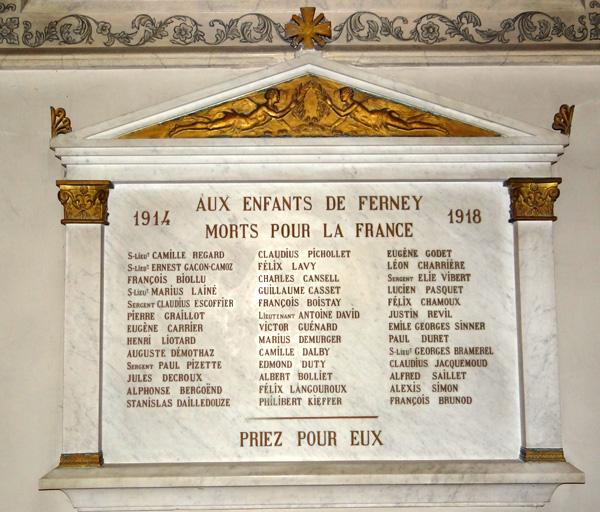 Plaque commémorative : hommage aux morts de la guerre de 1914-1918