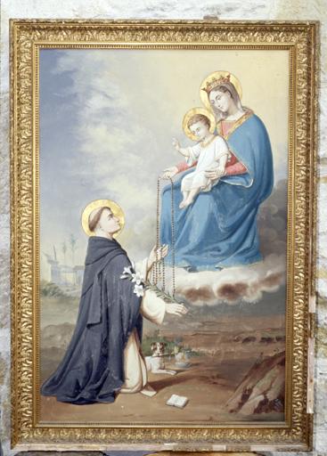 tableau   Vierge remettant le Rosaire à saint Dominique