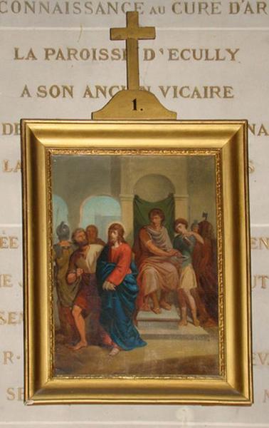 Ensemble de 14 tableaux du chemin de croix