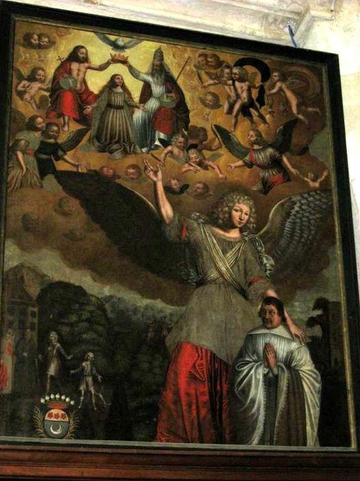 tableau : ange gardien montre le ciel à un donateur agenouillé (un), vue générale
