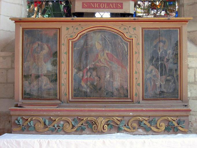 Retable, 3 panneaux peints : Décollation de sainte Barbe, saint Nicolas apaisant la tempête, saint Roch