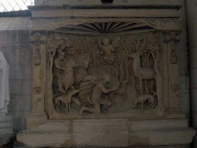 Haut-relief : Chasse de saint Hubert