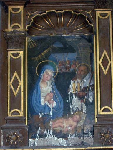 2 panneaux peints : Nativité, Fuite en Égypte