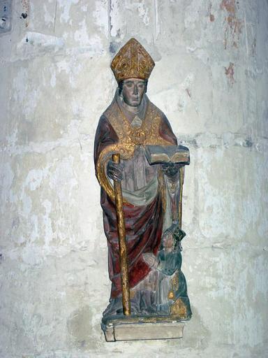 Statue : Saint évêque et donatrice