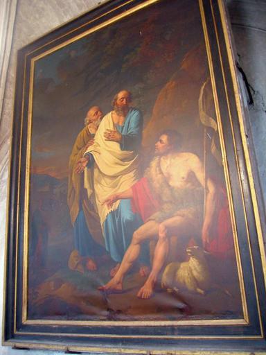 Tableau : Ecce Homo, Agnus Dei, saint Jean-Baptiste, Christ, saint Pierre, saint André, et cadre