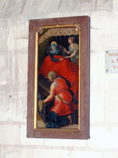 Panneau peint : Naissance de la Vierge