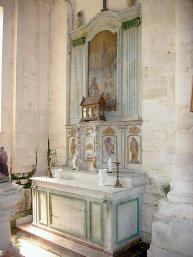 Autel, tabernacle et retable des fonts baptismaux