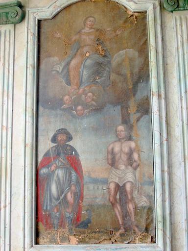 Tableau d'autel : Saint Roch, saint Sébastien, Assomption