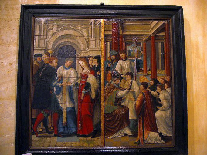 Panneau peint : Mariage de la Vierge, confirmation (recto), saint Loup (verso) (Trésor des Eglises de Brienne-le-Château)