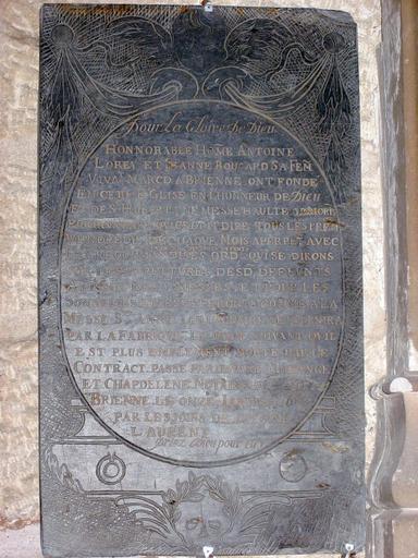 Plaque commémorative de fondation d'Antoine Lorey et Jeanne Boucard