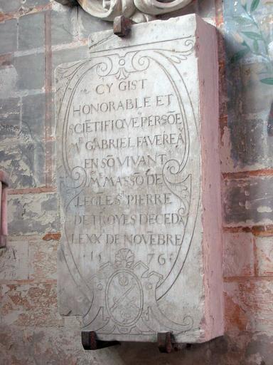 Dalle funéraire de Gabriel Favereau