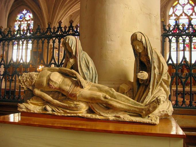 Groupe sculpté (petite nature) : Vierge de Pitié et sainte Paule (dit Sépulcre)