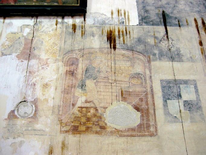 Peinture monumentale : Flagellation du Christ, Christ bénissant, trois saints, saint Honoré (?), saint évêque, la Vierge (?)